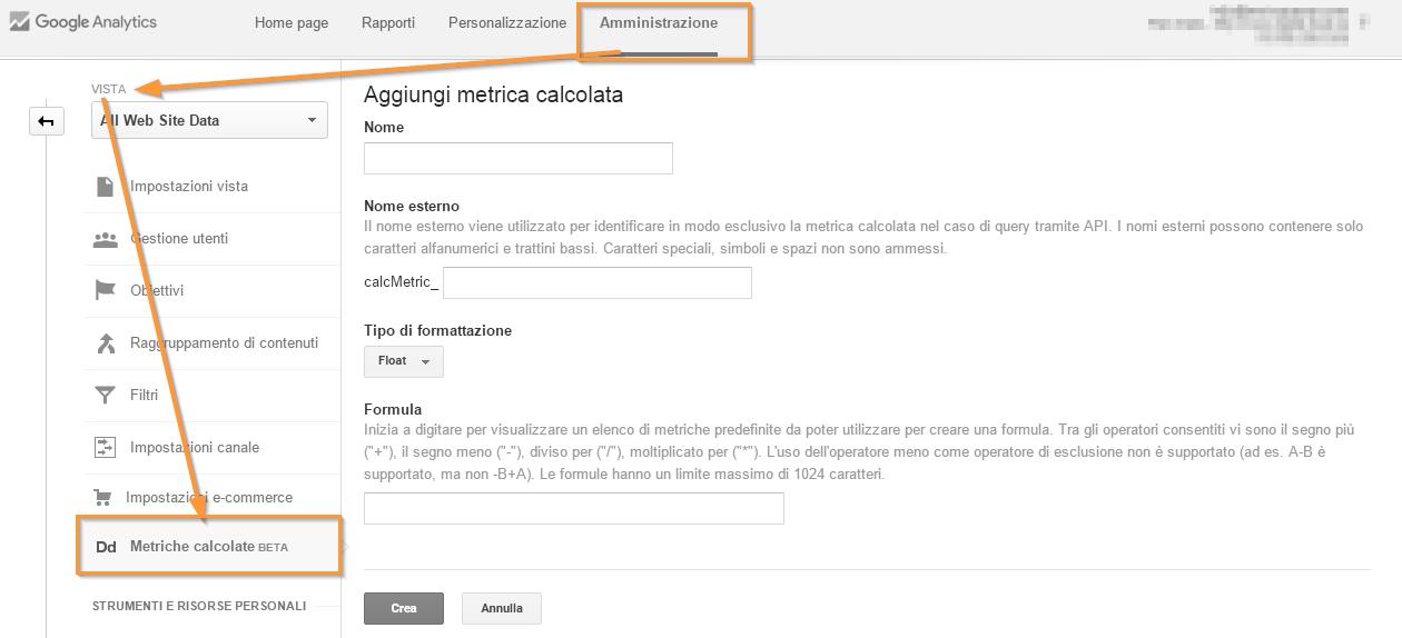 Metriche Calcolate Google Analytics