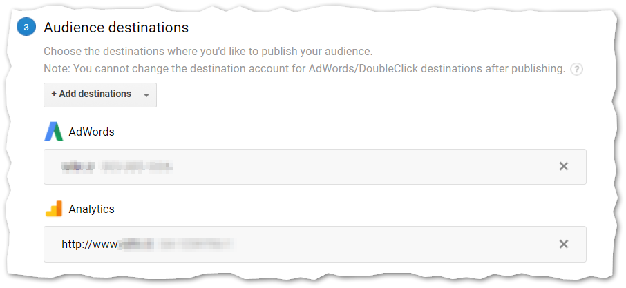 Publish custom audiences Google Analytics