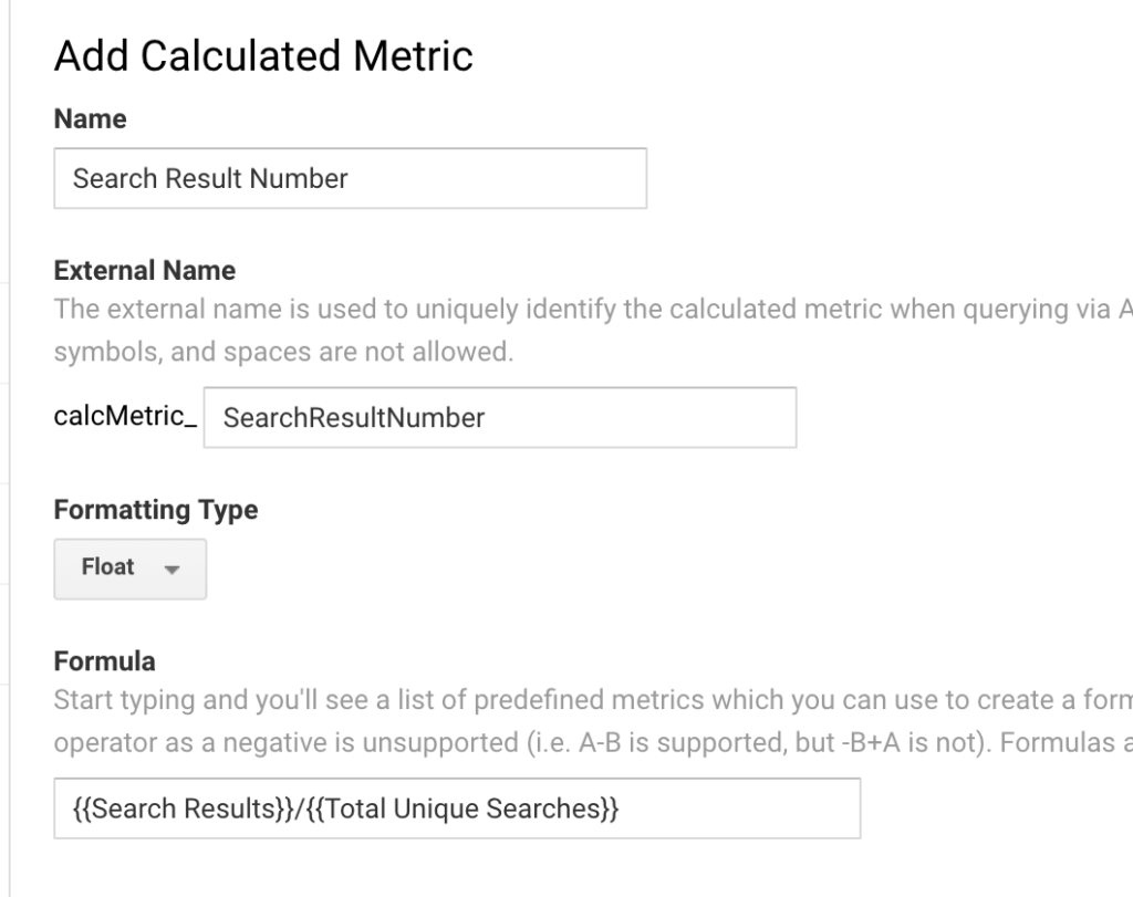 calculated metrics