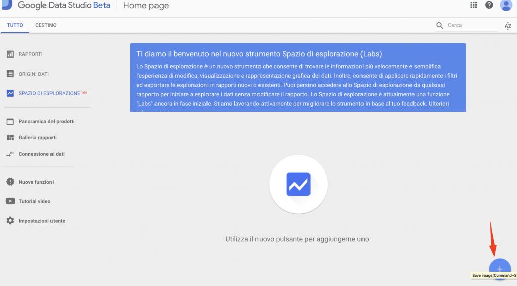 Spazio Esplorazione Google Data Studio 2