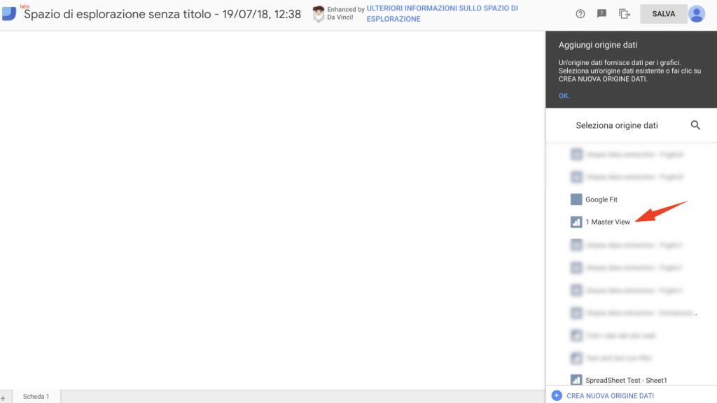 Spazio Esplorazione Google Data Studio