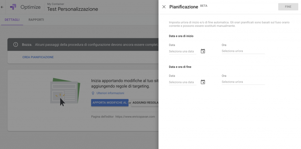 Google Optimize Personalization Pianificazione