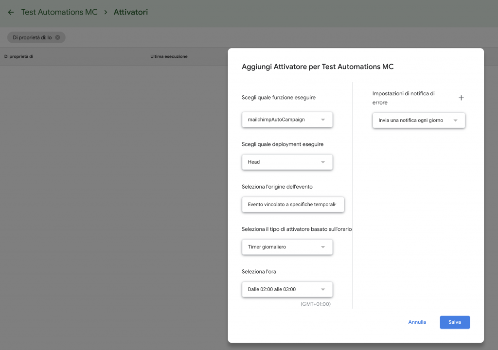 Google Spreadsheet Automations MailChimp triggers