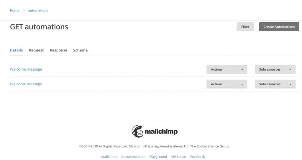 MailChimp API Playground Automations home