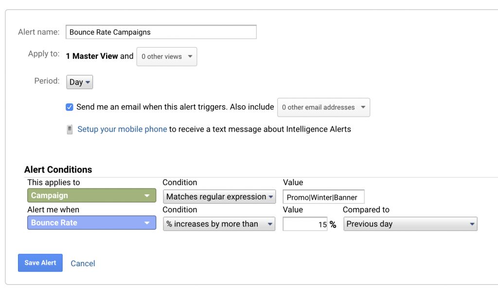 Custom Alert Google Analytics Bounce Rate