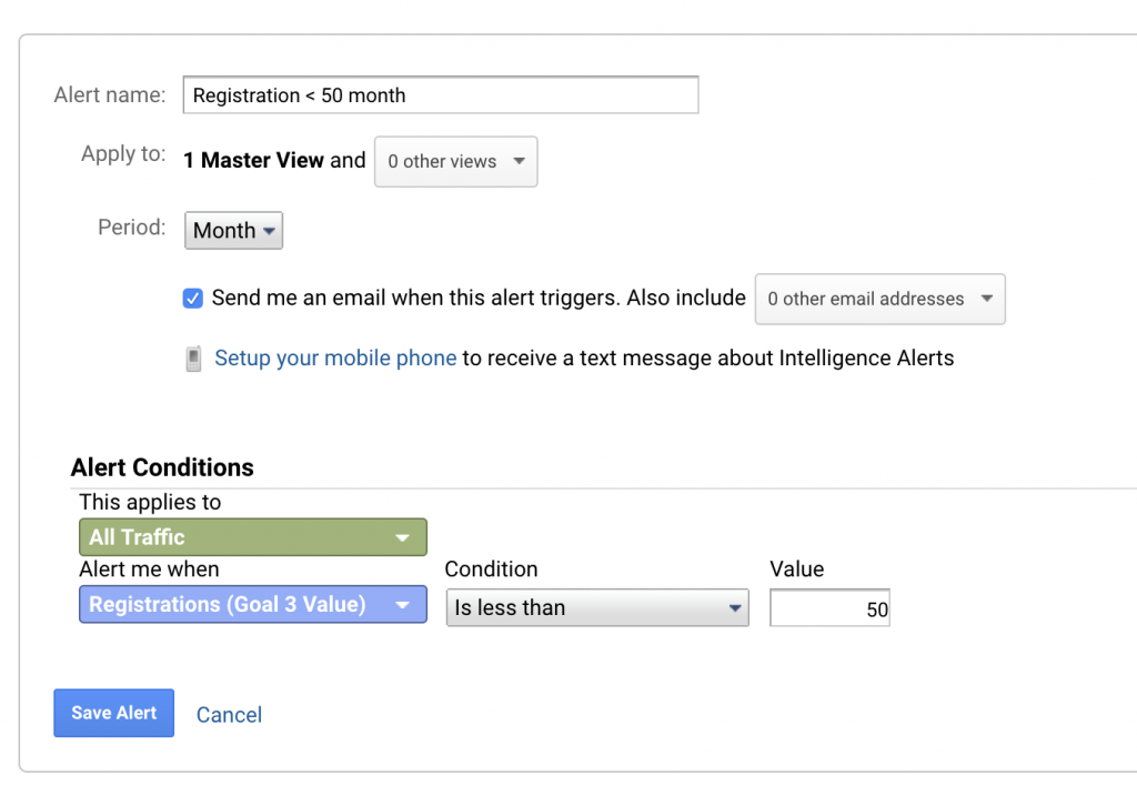 Custom Alerts Google Analytics