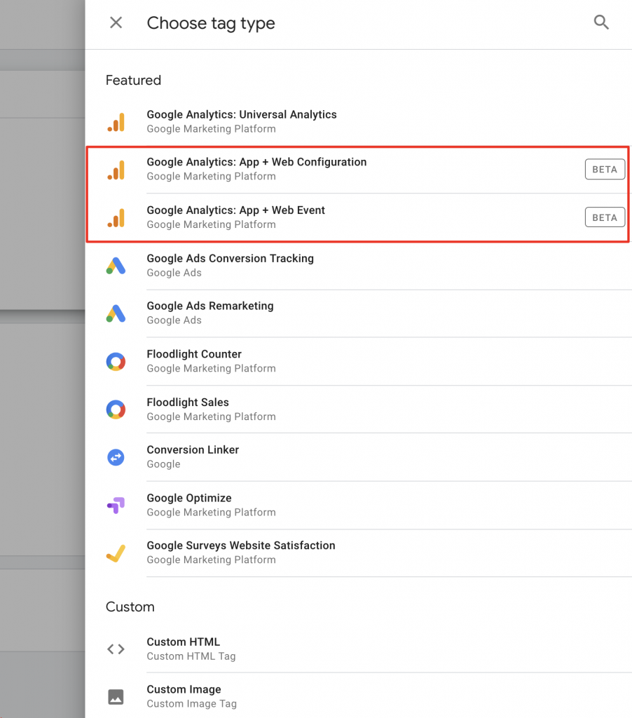 Google Analytics App and Web property Google Tag Manager