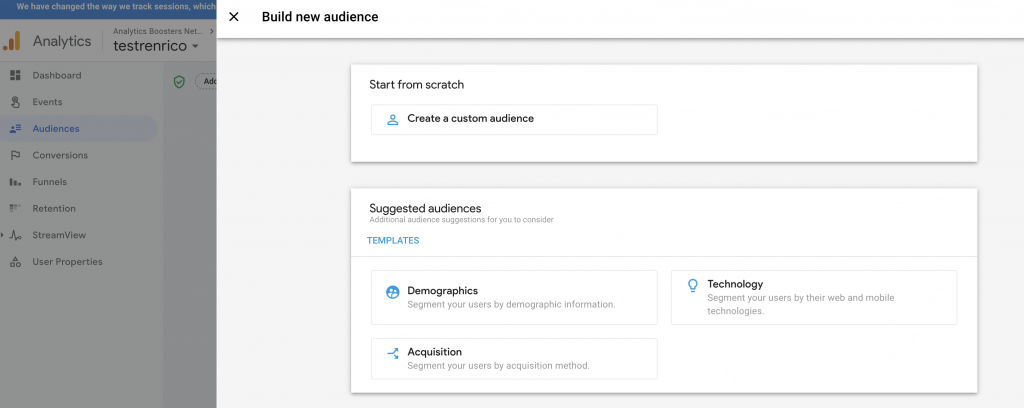 Google Analytics App and Web property new audience template