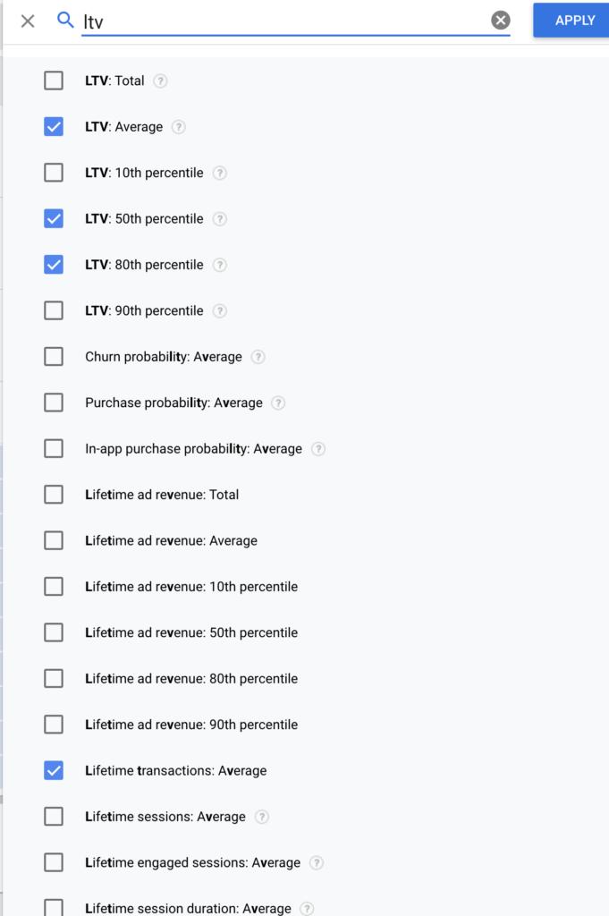 Google Analytics 4 user lifetime metrics