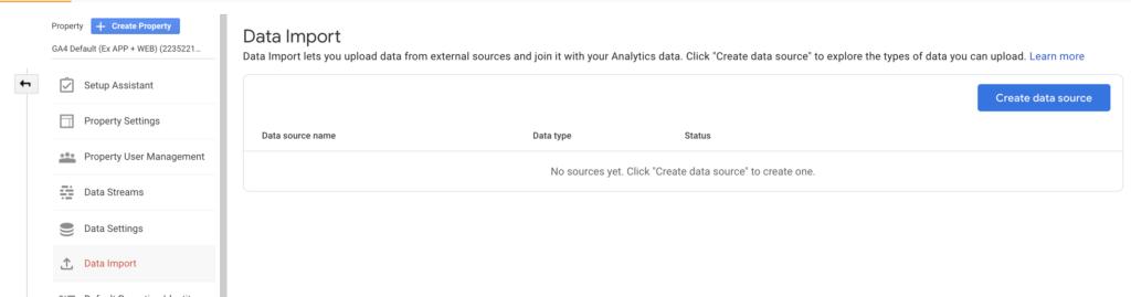 Data import GA4