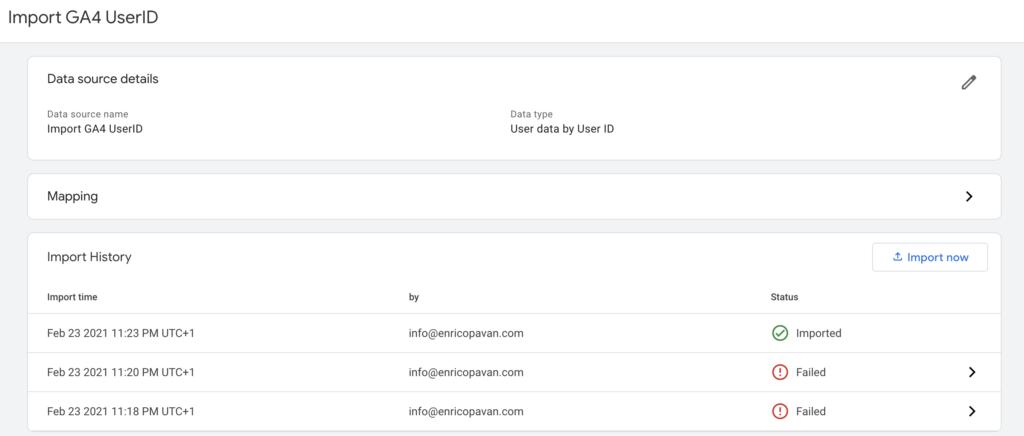 Data import GA4 status