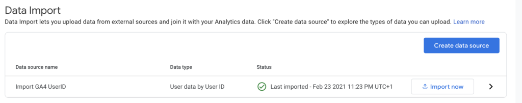 Data import GA4 status active
